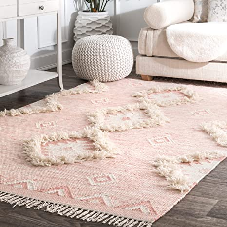 Amazon Com Nuloom Savannah Moroccan Fringe Area Rug 7 6 X 9 6 Pink Furniture Decor