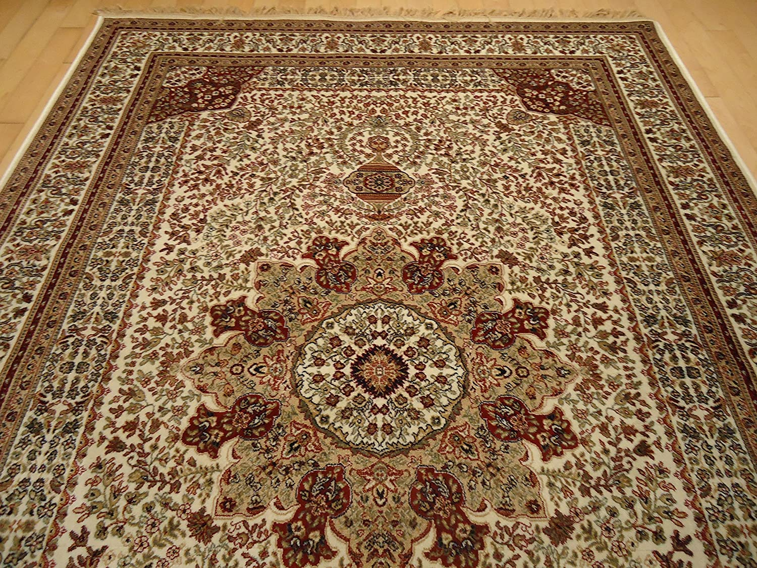 amazoncom silk ivory rug persian style tabriz rug 5x8 living room rugs 5x7 ivory cream carpet area rugs traditional luxury rugs high end silk rugs medium