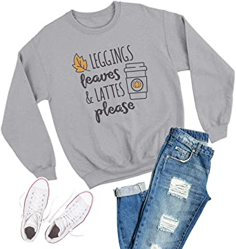 Leggings Leaves /& Lattes Please  Unisex Crewneck Pullover Sweatshirts