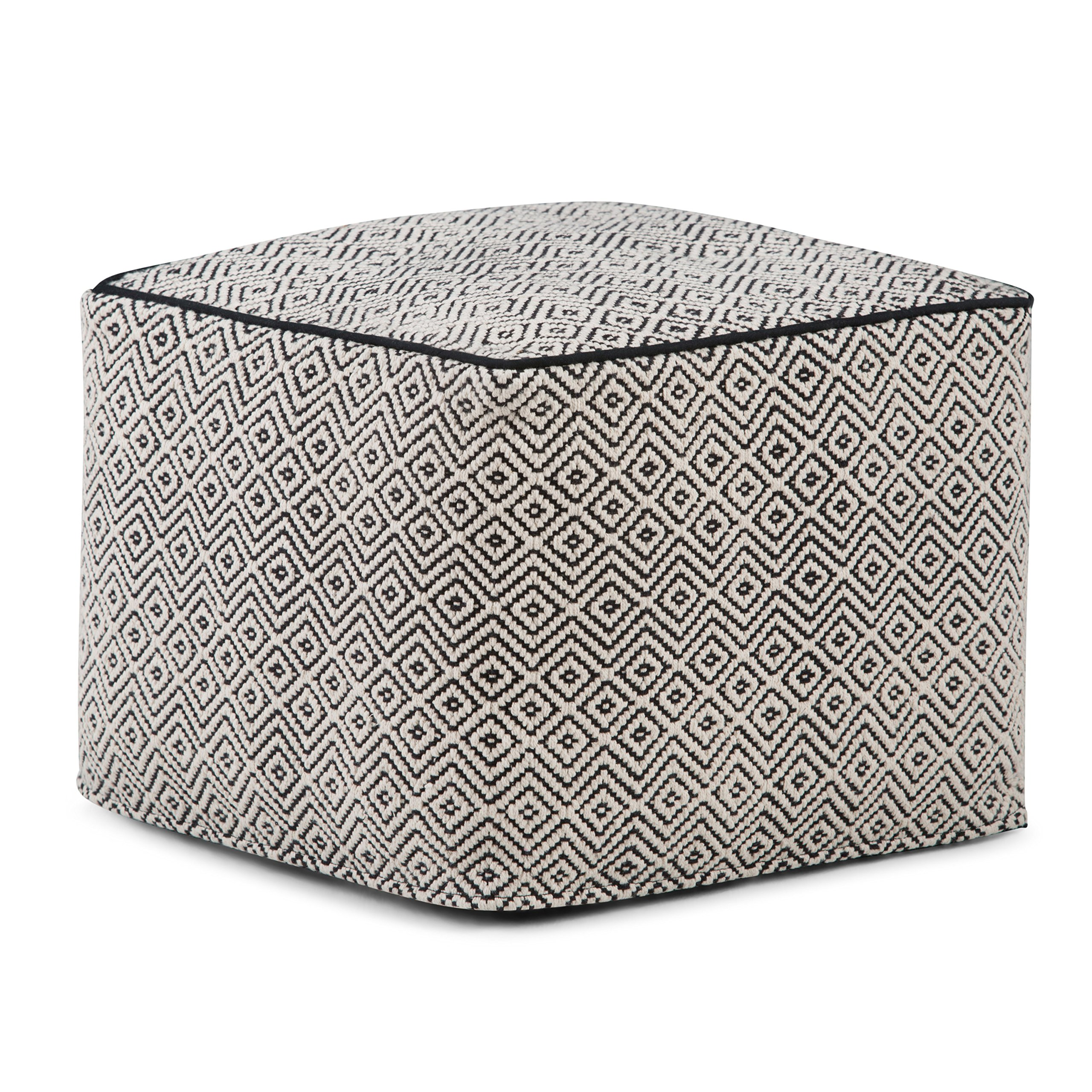 Simpli Home Brynn Square Pouf, Patterned Black and Grey