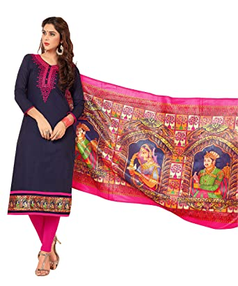 f47cf8cb2a1 Amazon.com  Ready to Wear Navy Blue Coloured Cotton Fabric Salwar Suit with  Silk Print Dupatta  Clothing
