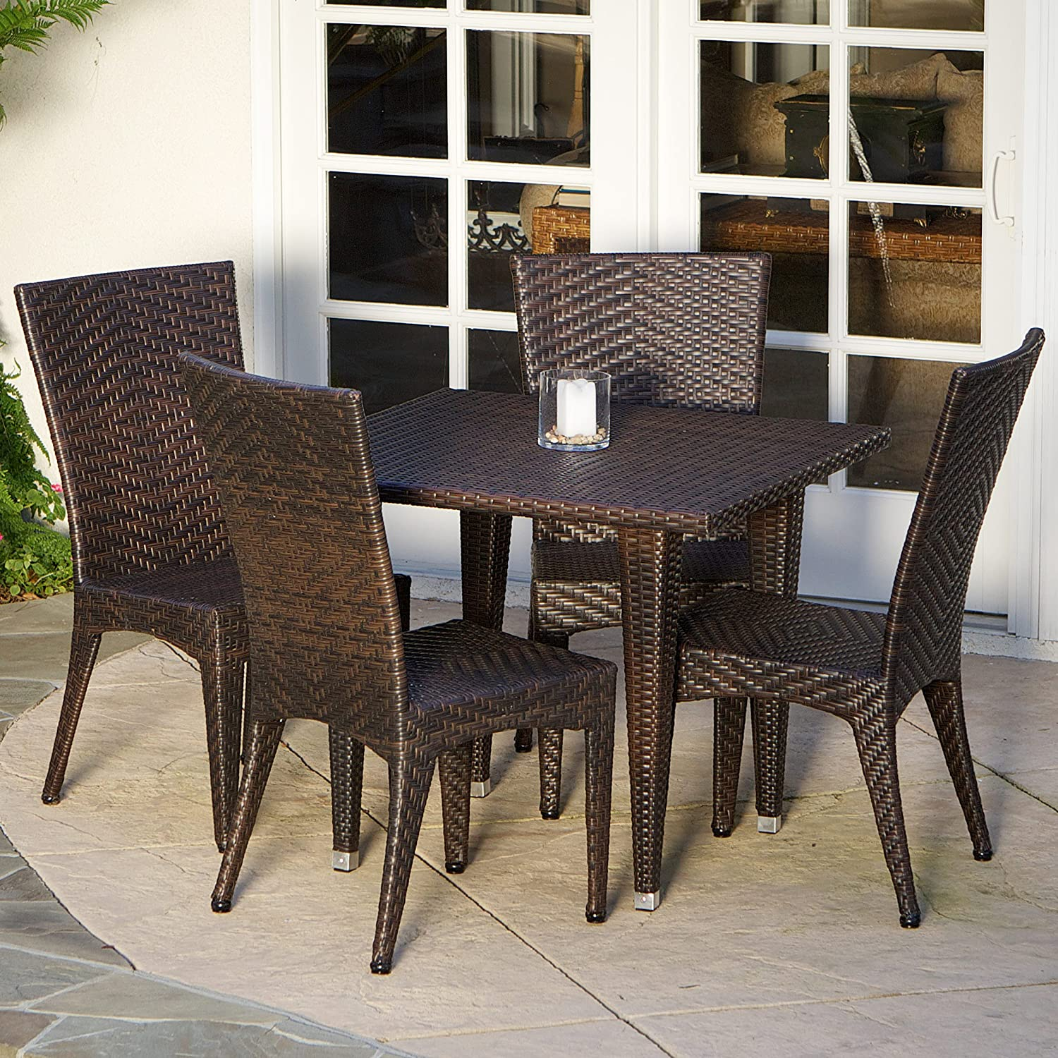 Christopher Knight Home 232462 Brooklyn Patio Furniture ~ 5-Piece Outdoor Wicker Dining Set, Brown