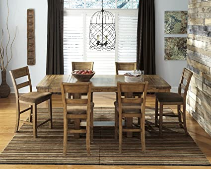 Krindan Casual Wood Light Brown Color Dining Room Set: Rectangle Counter  Extension Table With 6