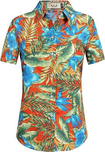 SSLR Blusa Mujer Hawaiana Manga Corta Camisa Casual Flores Aloha Tropical (X-Large, Naranja): Amazon.es: Ropa y accesorios