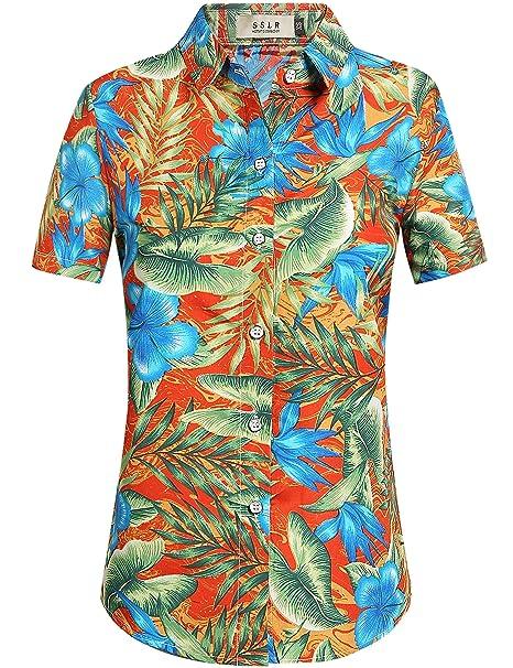 SSLR Blusa Mujer Hawaiana Manga Corta Camisa Casual Flores Aloha Tropical (Large, Naranja)