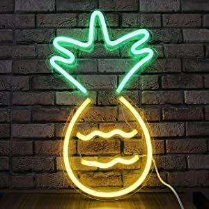 Pineapple LED Neon Sign Light LED Wall Light Fruit Décor for Bedroom Neon Pineapple Room Accessories Cute Wall Art LED Sign Personalized Neon Signs Party Club Coffee Shop Bar Sign