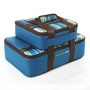 "Rachael Ray Lasagna Lugger Combo Set, Insulated Carriers for 9"" X 9"" and 9"" X 13"" Baking Dishes, Marine Blue Stripe"