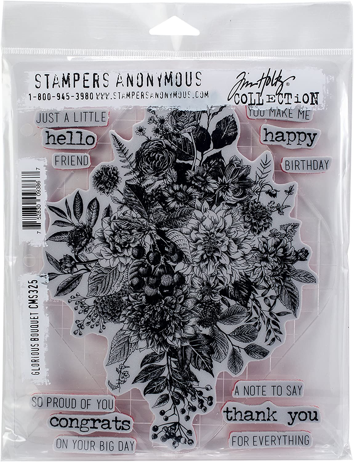 Tim Holtz - Stampers Anon Cling RBBR Stamp Set, us:one size, Glorious Bouquet W/Grid Block