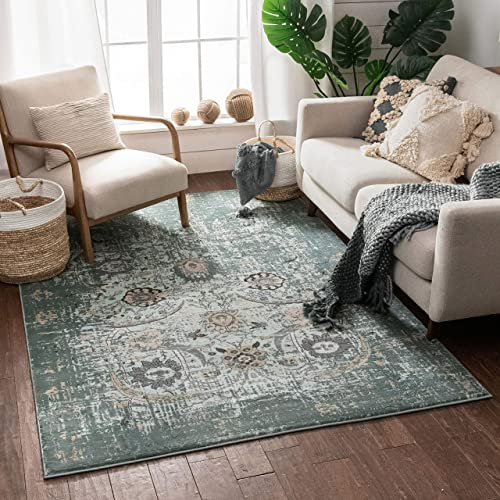 Well Woven Elle Blue Persian Vintage Shiraz 5X7 5'3″ X 7'3″ Area Rug Mint Blue Modern Distressed Oriental Carpet