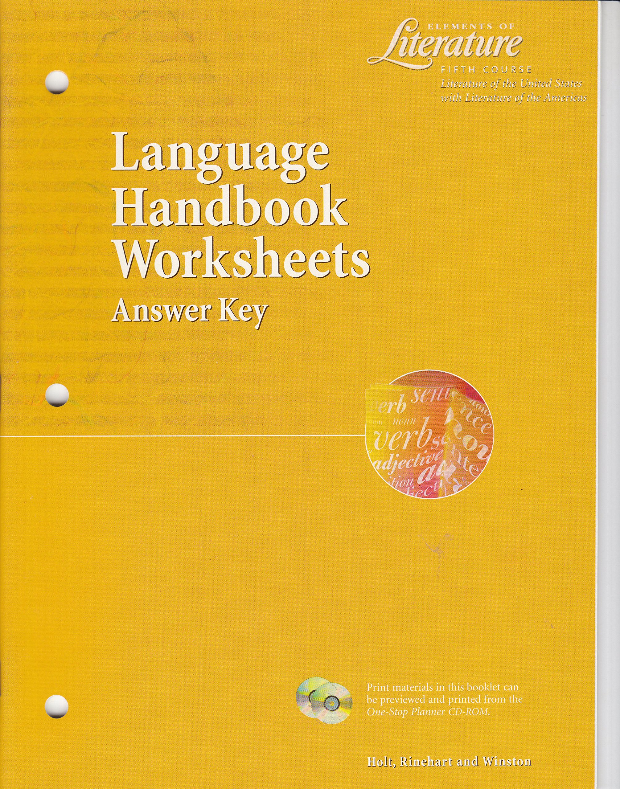 Worksheets Language Handbook Worksheets Answer Key Online elements of literature fifth course grade 11 language handbook worksheets answer key winston holt rinehart 9780030524189 amaz