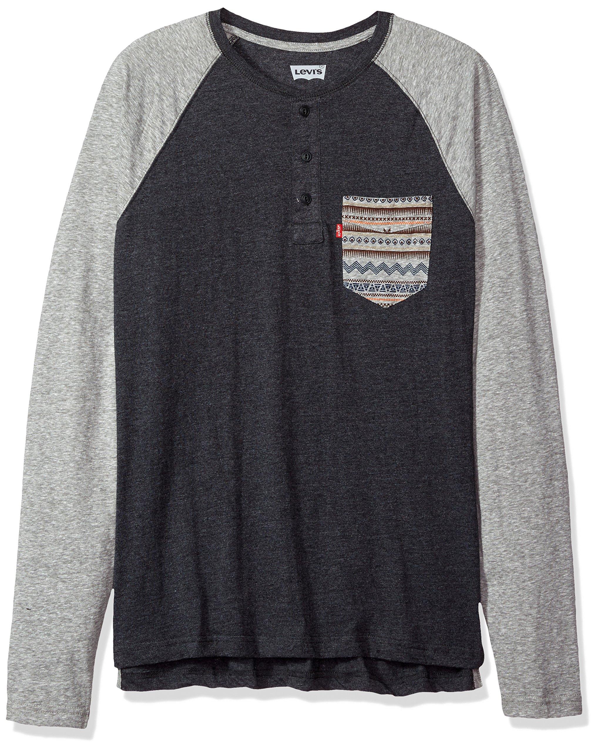 Levi's Men's Chabot Long Sleeve Snow Jersey Shirt, Caviar/Castlerock, Medium