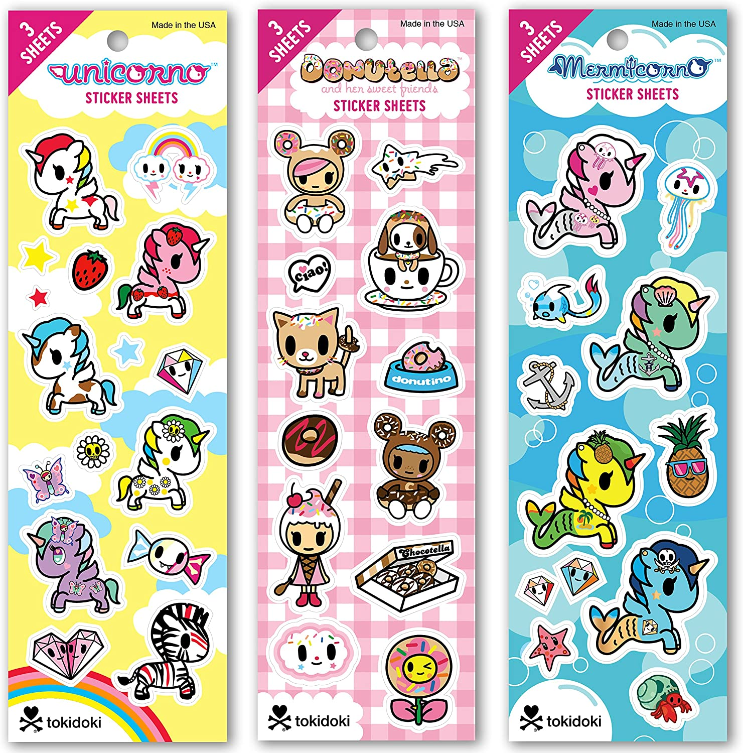 9 Sheets Total 3 Sheets Each Re-marks Tokidoki Sticker Sheet 3 pack