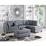 Amazon Com Odessa Reversible Sectional Sofa Set With Ottoman