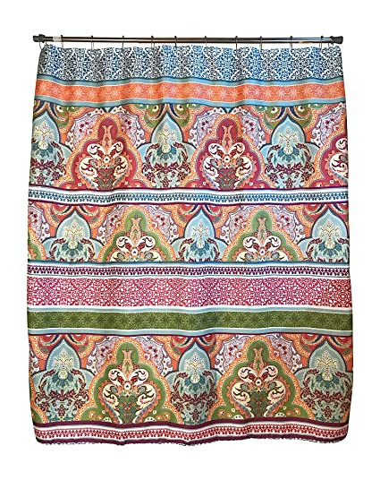 Amazon.com: Blue Pink Green Boho Fabric Shower Curtain: Floral ...