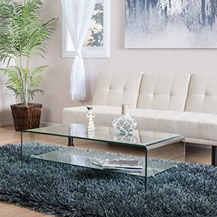 Amazoncom Great Deal Furniture Charlize Glass Coffee Table
