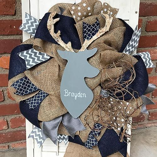 b0bf8eb6cce Amazon.com  Gray Navy Baby Decor Deer Wreath Nursery Decor Woodland ...