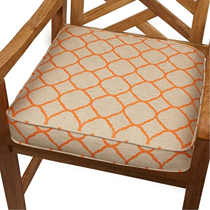 Moroccan Orange Indoor/Outdoor 20 Inch Chair Cushion With Sunbrella