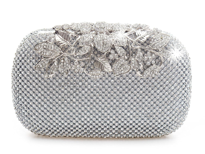 a747f500a0d Unique Clasp Silver Diamante Crystal Diamond Evening bag Clutch Purse Party  Bridal Prom