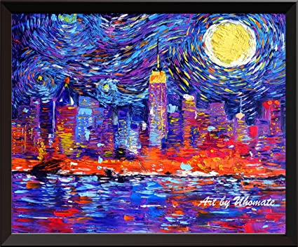 e117c73450c1 Uhomate New York City Skyline NYC Skyline Vincent Van Gogh Starry Night  Posters Home Canvas Wall