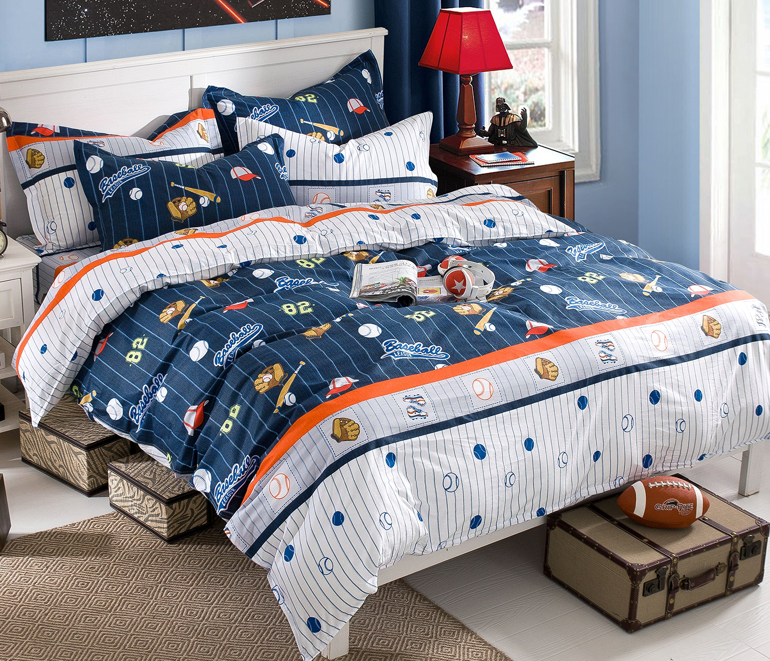 Cliab Baseball Bedding for Boys Full Size Blue White Orange Bed Sheets 100% Cotton Duvet Cover Set 5 Pieces