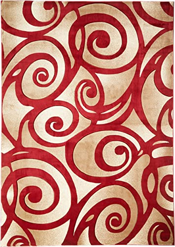 Sculpture Modern Area Rug Red 8 x 10 6