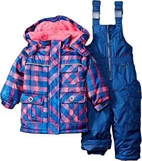 8043e6dc6863 Amazon.com  Baby Girls Snowsuit Toddler Puffer Hooded Jacket + Bib ...