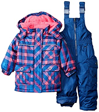 22ad2f68ed77 Amazon.com  Rugged Bear Baby Girls  Plaid Snowsuit