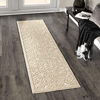 "product image for Orian Rugs Boucle Collection 397147 Indoor/Outdoor High-Low Biscay Runner Rug, 1'11"" x 7'6"", Driftwood Beige"
