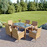 Rectangle Rattan Dining Table with 6 Chair Furniture Set, Indoor and Outdoor Use (Light Mixed Brown)