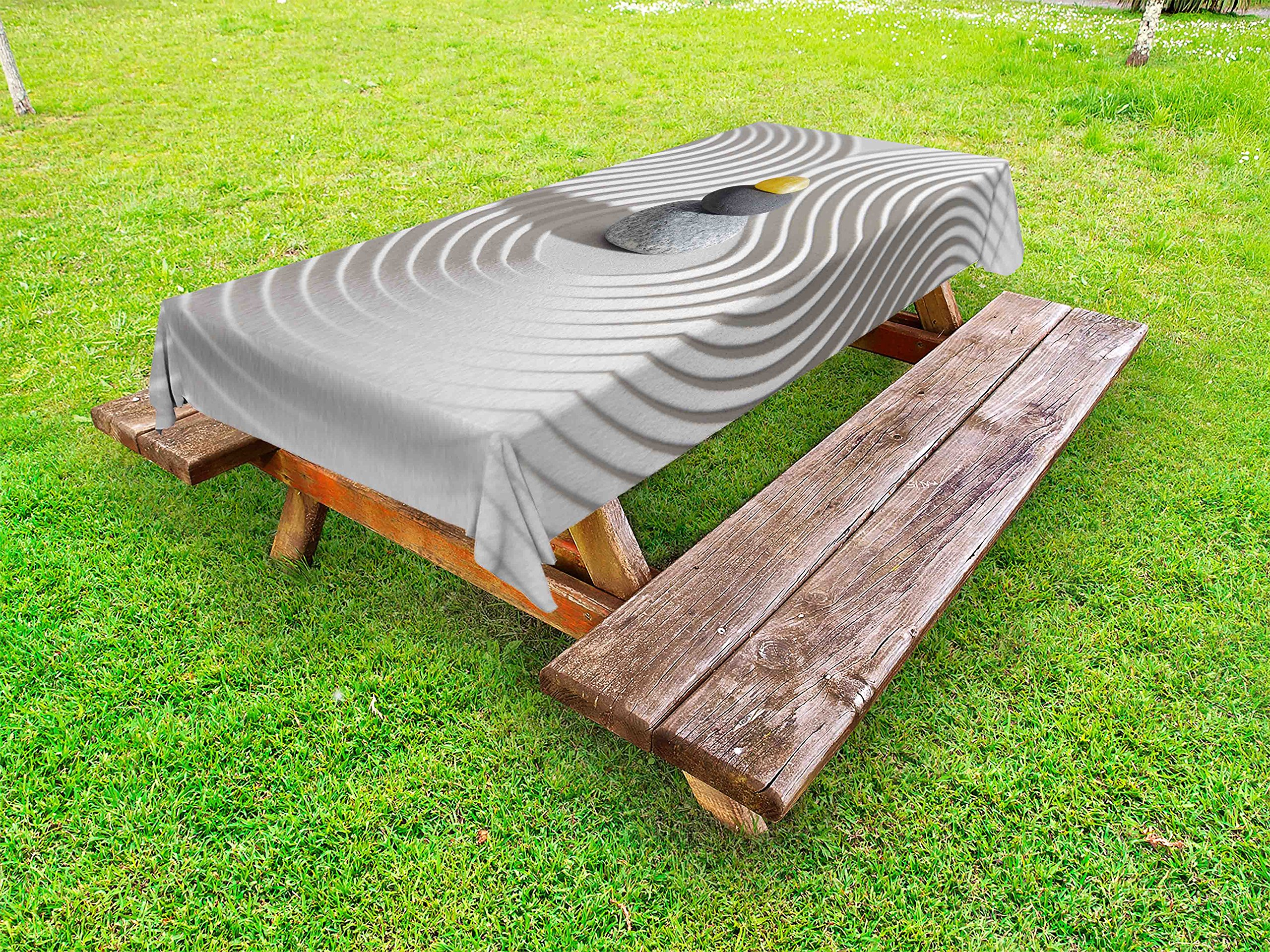 Ambesonne Spa Outdoor Tablecloth, Three Hot Massage Stones in The Middle of The White Sand Shaped Waves Artwork, Decorative Washable Picnic Table Cloth, 58 X 84 inches, Grey and Yellow