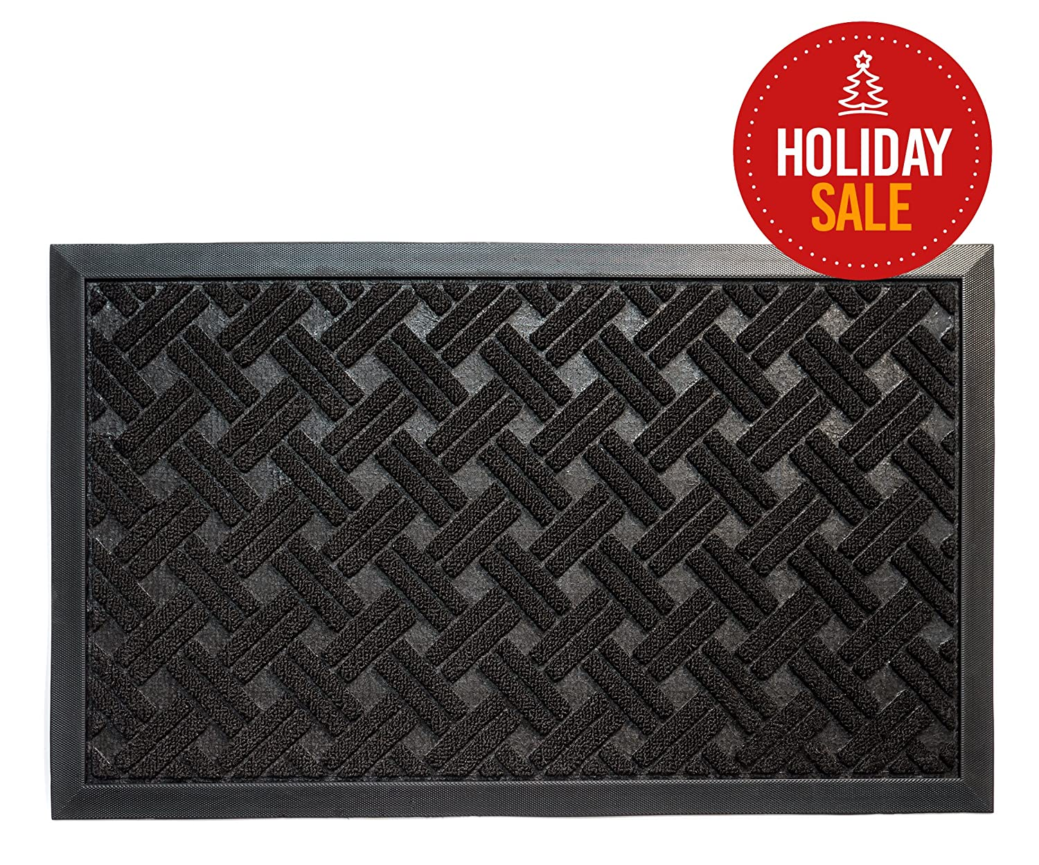 Entrance Rug Doormat, Shoe Scraper Entryway Floor Mat, 29x17-Inches, Black