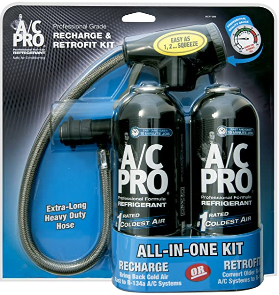 A/C PRO ACP-100 Professional Formula R-134a Ultra Synthetic Air  Conditioning Refrigerant with Reusable Dispenser and Gauge - 20 oz