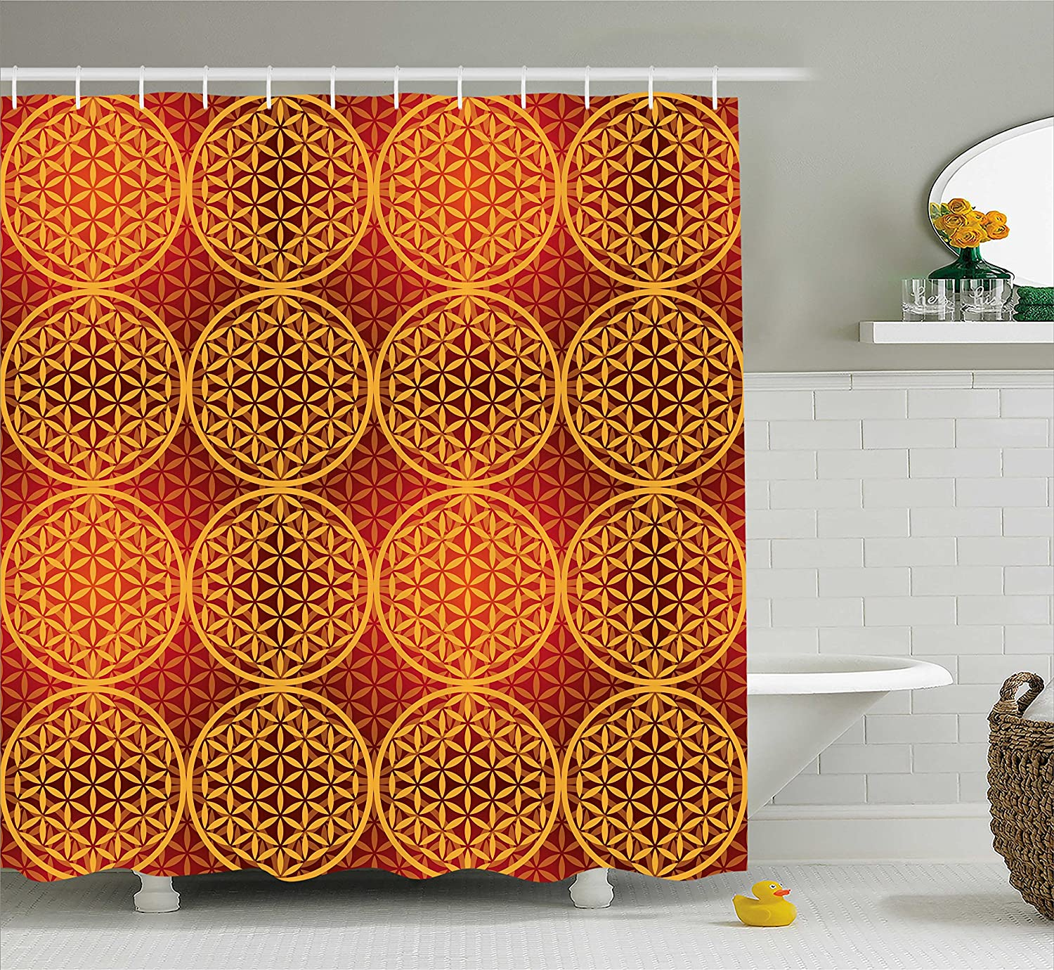 Ambesonne Vintage Decor Shower Curtain Set Red Orange sc/_13159/_Vintage/_05.26/_long Motor Scooter Classical Caricature for Hippies Urban Memories Youth Contemporary Art 75 Inches Long Bathroom Accessories