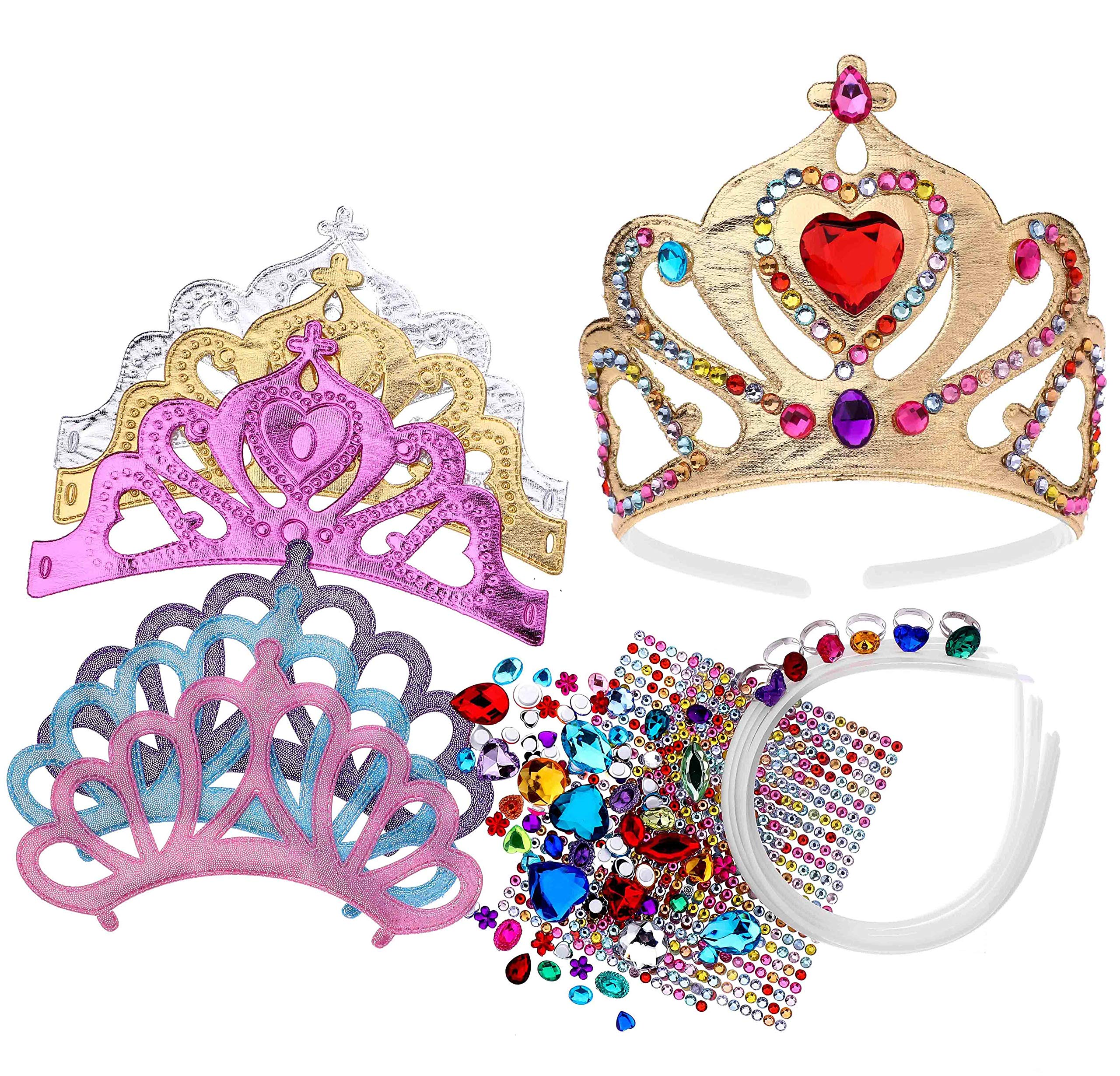 Foam Princess Tiaras and Crowns, Making Your Own Tiaras with Rhinestone stickers, Princess Party Favors for Kids (pack of 6) by Richness