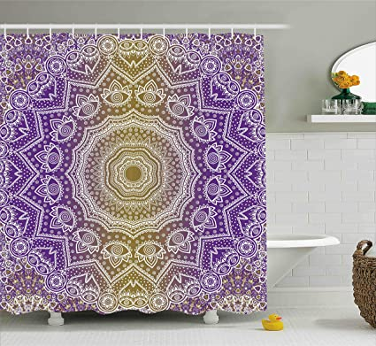 Ambesonne Yellow And Purple Shower Curtain Mandala Ombre East Tradition Deep Sacred Mystic Magic In