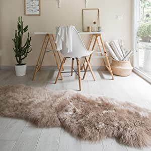 Outlavish Sheepskin Rug Soft Genuine Natural Merino (2 x 6ft, Light Brown)