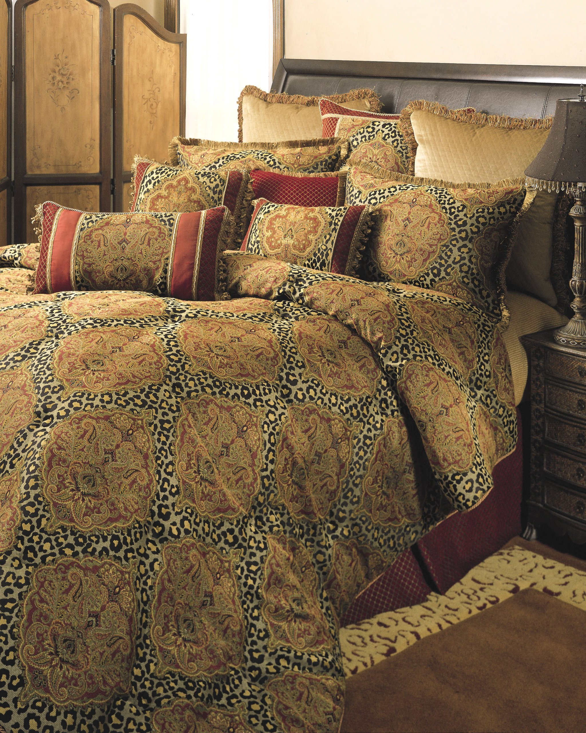 Sherry Kline Tangiers Comforter Set, King,Gold/Bronze, 4 Piece - Bedding features a dramatic mix of damask and leopard spot and includes accents of red and gold chenille and velvet Set includes comforter, bedskirt, and two shams Comforter fabric:100-percent polyester - comforter-sets, bedroom-sheets-comforters, bedroom - A11kUbqrXoL -