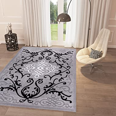 Black and White Grey Modern Classic Area Rug 5' x 7'2'' Casual Modern Rug for Dining Living Room Bedroom Easy Clean Carpet