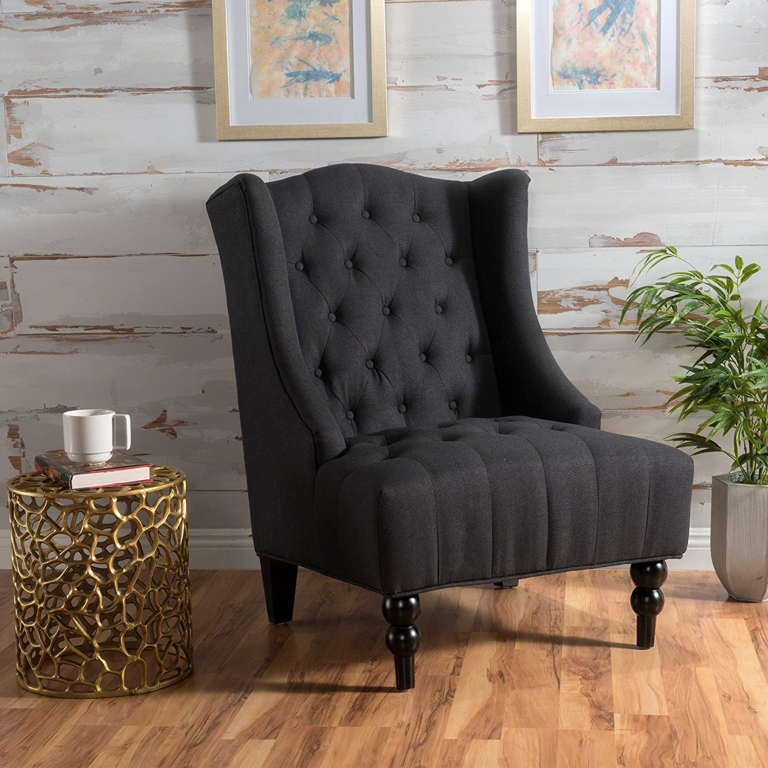 Amazon com clarice tall wingback tufted fabric accent chair vintage club seat for living room dark charcoal kitchen dining