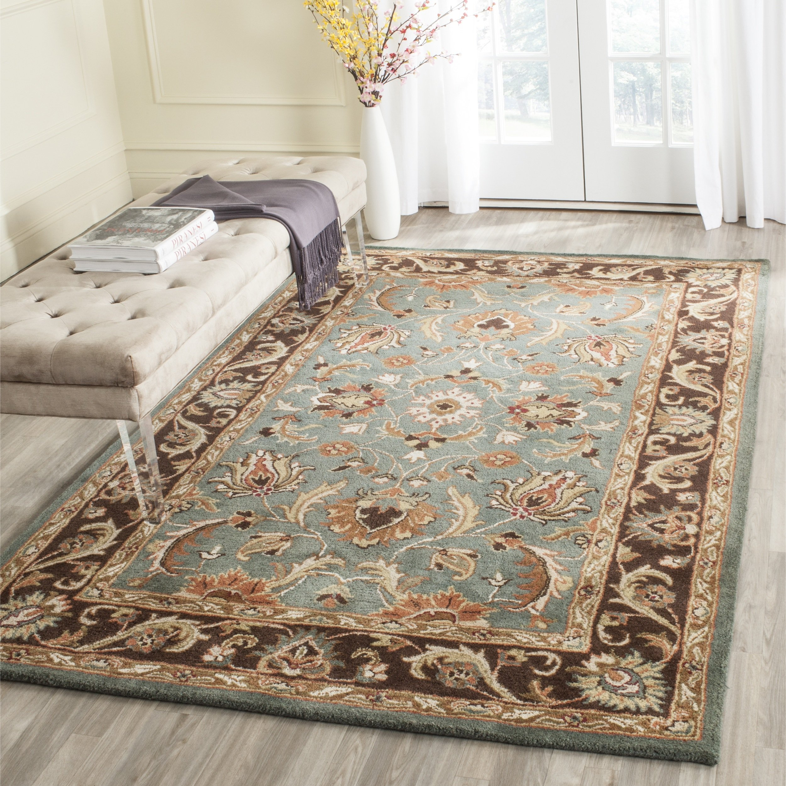 Safavieh Heritage Collection HG812B Handcrafted Traditional Oriental Blue and Brown Wool Area Rug (7'6'' x 9'6'')