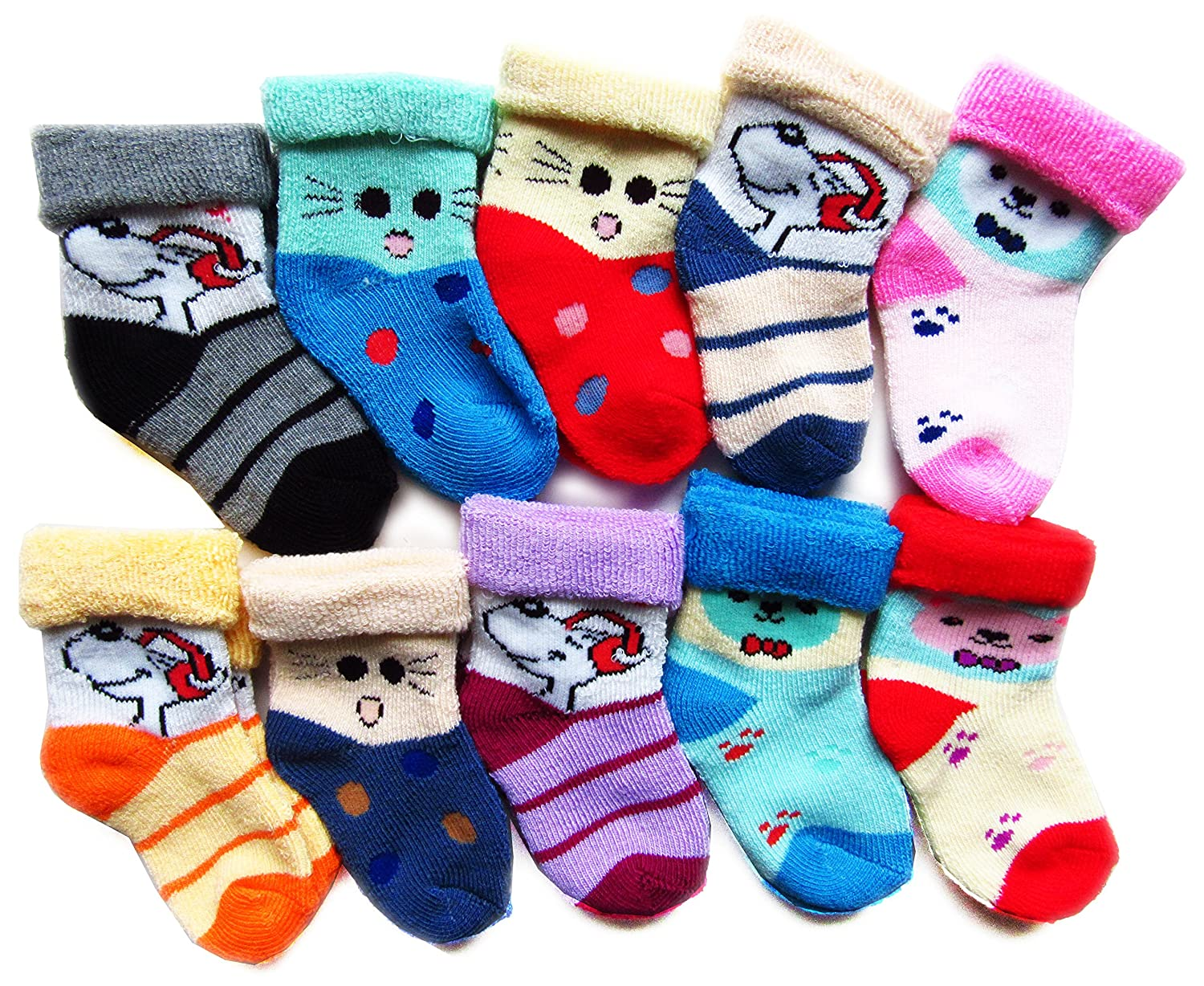 RC. ROYAL CLASS Baby Boy's Cotton Socks (Multicolour, 2 -8 Months) -Pack of 10 Pairs