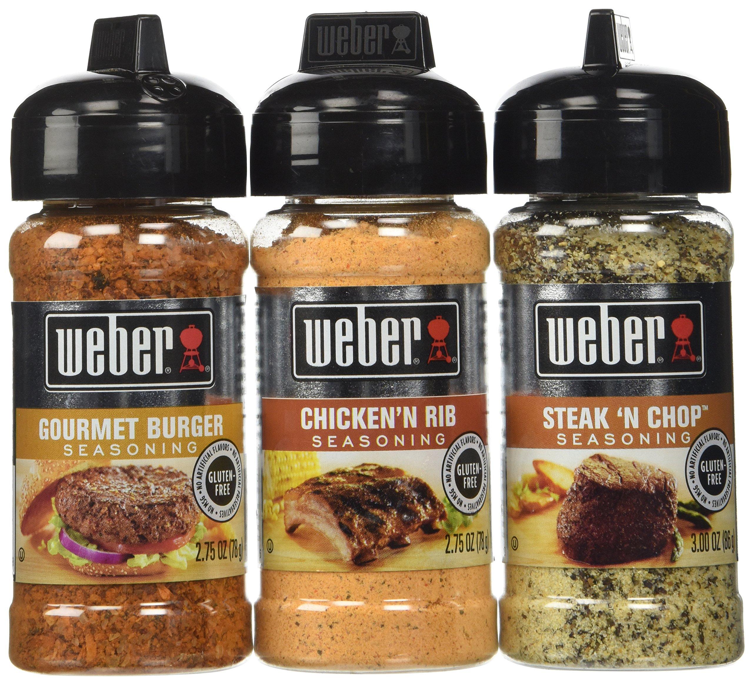 Weber Seasoning Variety 3 Flavor Pack 2.5 oz - Steak 'N Chop - Chicken 'N Rib - Gourmet Burger - All Natural Shake-On Bundle Set