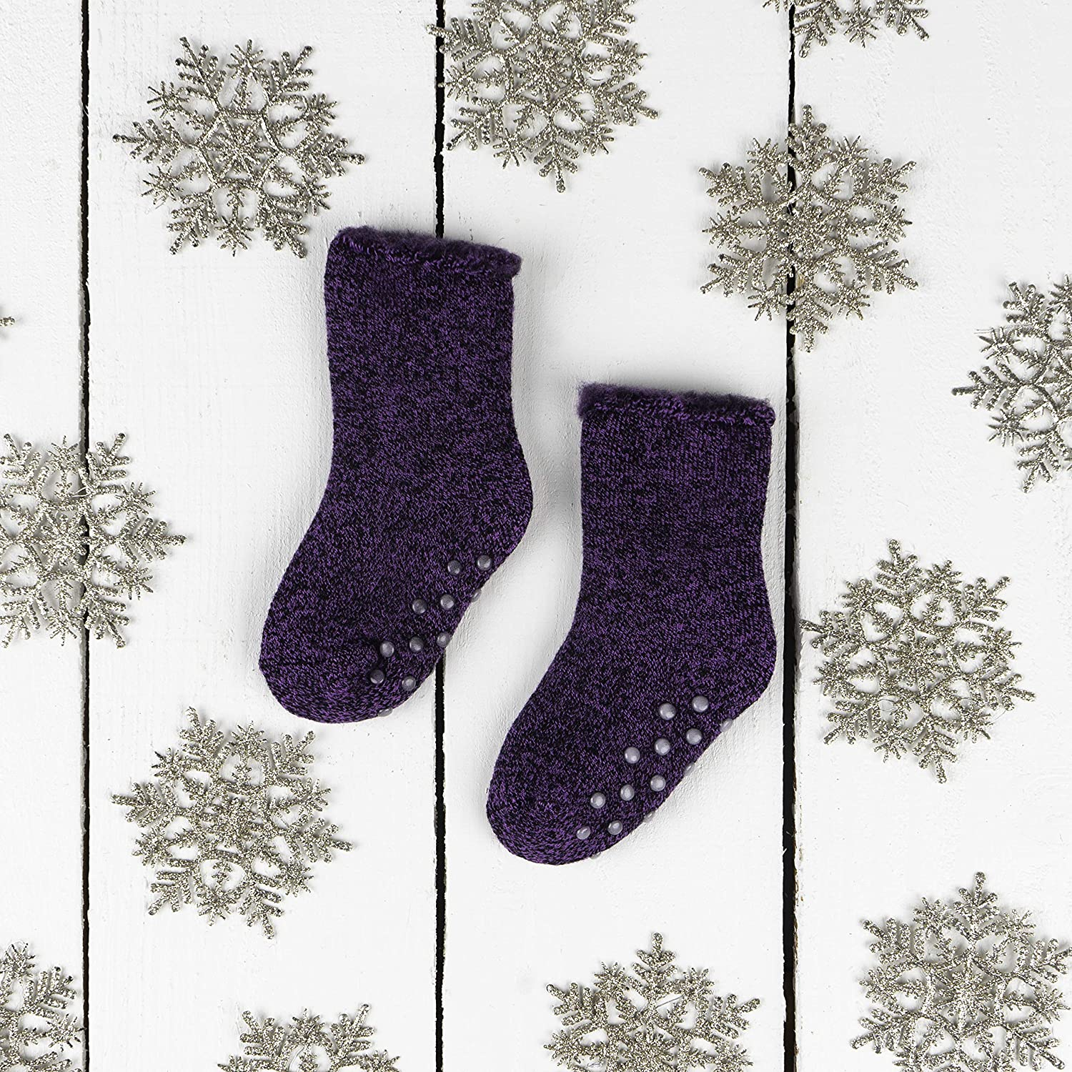 Gripped//Non Gripped Combo Hot Feet Toddler 5pk Crew Thermal Socks w//Soft Thick Brushing Inside