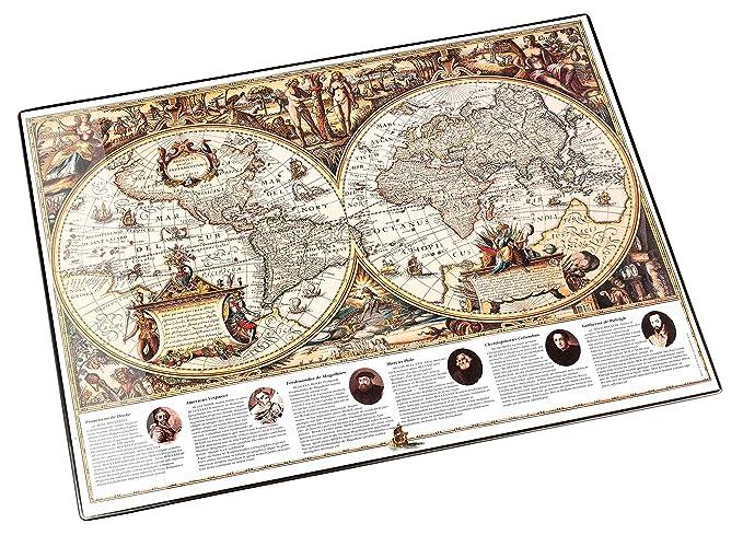 Läufer 45349 Landkarten-Schreibtischunterlage Welt antik, rutschfeste Schreibunterlage, 40x53 cm, mit transparenter Seitentas