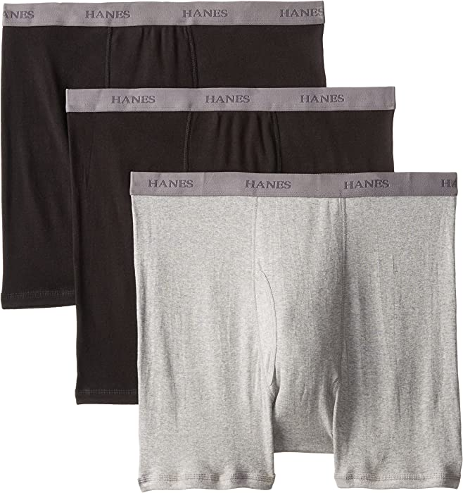 48a3595b1d2f Hanes Men's Big Boxer Brief - Sizes, Black/Grey, 2X-Large (Pack of 3 ...