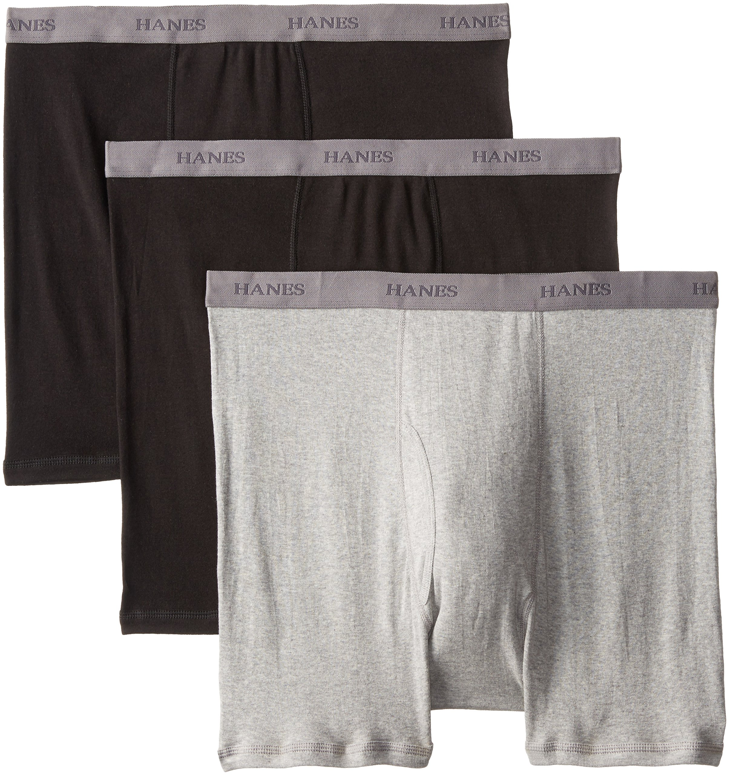 Hanes Men's Big Boxer Brief - Sizes, Black/Grey, 2X-Large (Pack of 3)