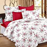 Ahmedabad Cotton Comfort 160 TC Cotton Double Bedsheet with 2 Pillow Covers - White and Pink(90 x 96 inch)