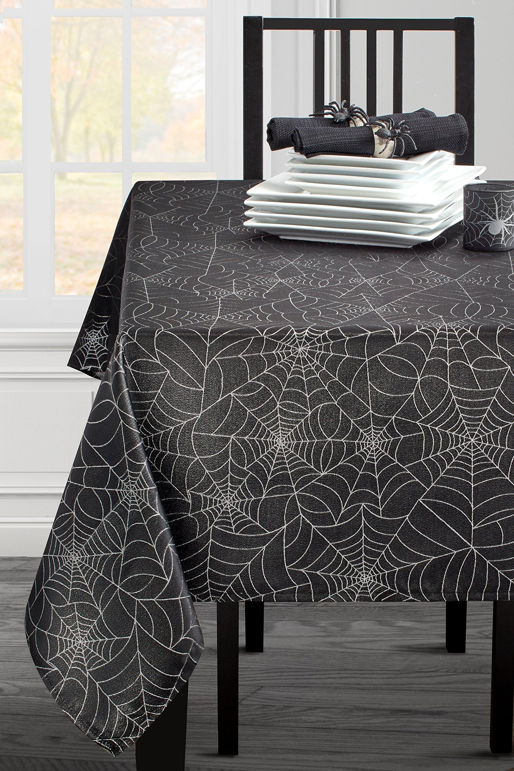 Benson Mills Twinkle Halloween Spider Web Fabric Metallic Tablecloth (Black, 60'' X 84'' Rectangular)