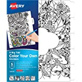 Avery Big Tab Reversible Fashion Dividers, Color Your Own Design, 5-Tab Set (24976)