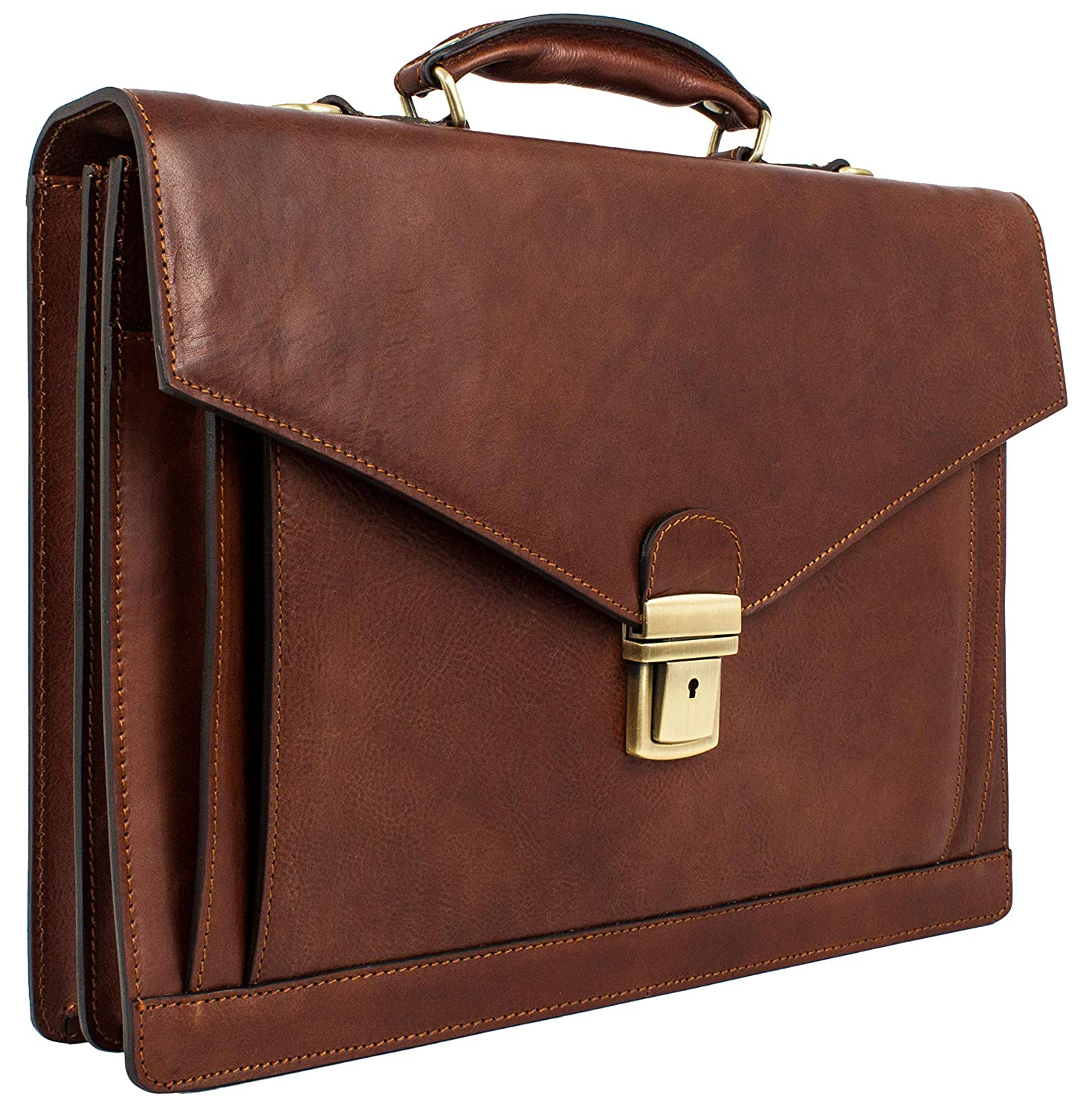 76d3c0cb20 Amazon.com  Time Resistance Leather Mens Briefcase